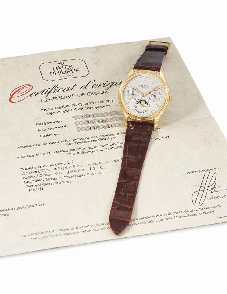 Patek Philippe. A fine, rare and early automatic perpetual calendar wristwatch with moon phases and certificate of origin