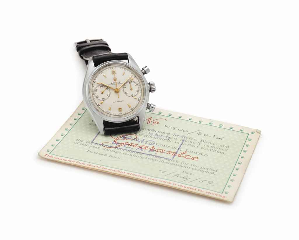 Rolex. A Fine and Rare Stainless Steel Chronograph Wristwatch with Guarantee