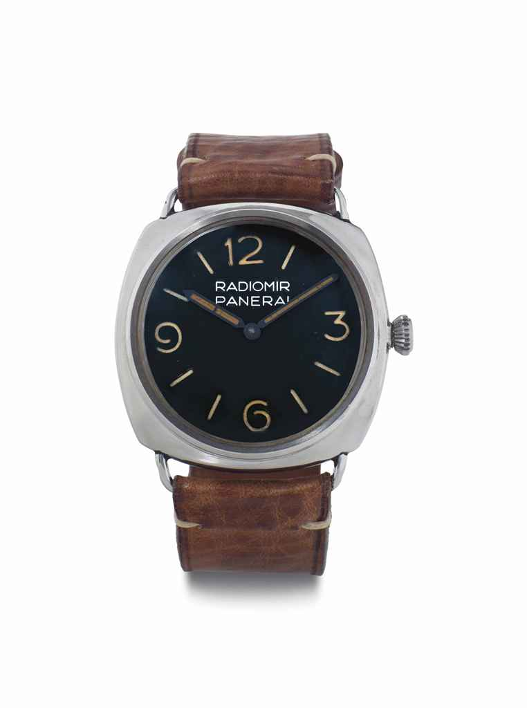Panerai. A Very Rare Stainless Steel Cushion-Shaped Diver's Wristwatch