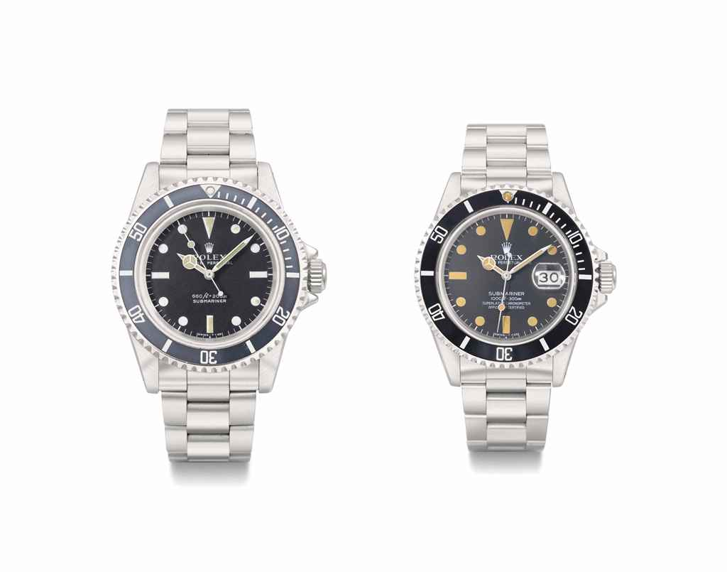 Rolex. A group lot of two stainless steel automatic wristwatches with sweep centre seconds and bracelets