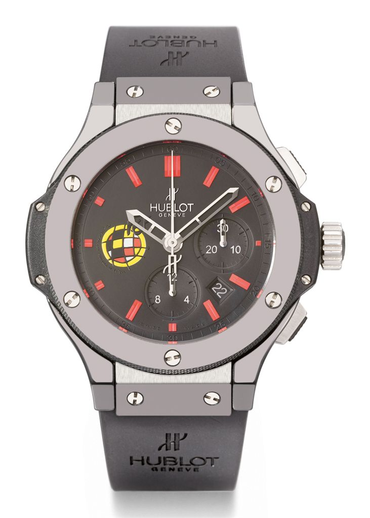 Hublot. A large black ceramic, titanium and Kevlar limited edition automatic chronograph wristwatch with date, made for the Spanish Football Federation