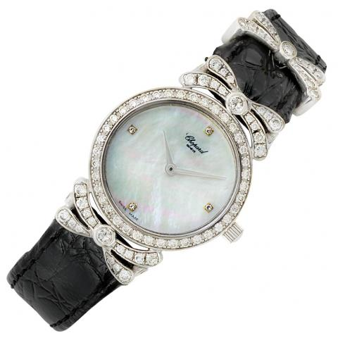 Lady's White Gold, Mother-of-Pearl and Diamond 'Mont D'Or' Wristwatch, Chopard