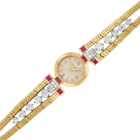 Ladys Gold, Diamond and Ruby Wristwatch, Cartier, France