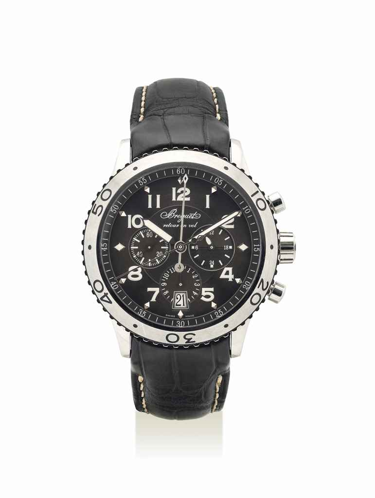 BREGUET. A STAINLESS STEEL AUTOMATIC FLYBACK CHRONOGRAPH WRISTWATCH WITH DATE