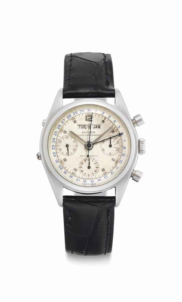 Rolex. A Very Rare and Highly Attractive Stainless Steel Triple Calendar Chronograph Wristwatch