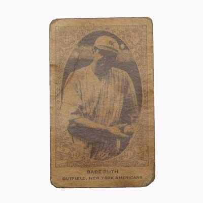 Babe Ruth E120 baseball card, 1922....