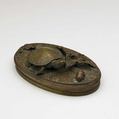 BRONZE TURTLE PAPERWEIGHT; With...