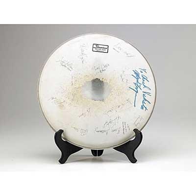 MUSICIAN AUTOGRAPHS; 1979 drumhead...