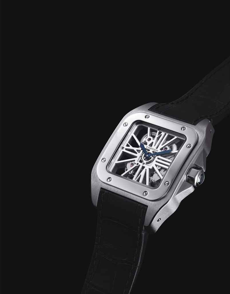 CARTIER. A FINE AND RARE PALLADIUM SQUARE SKELETONISED WRISTWATCH