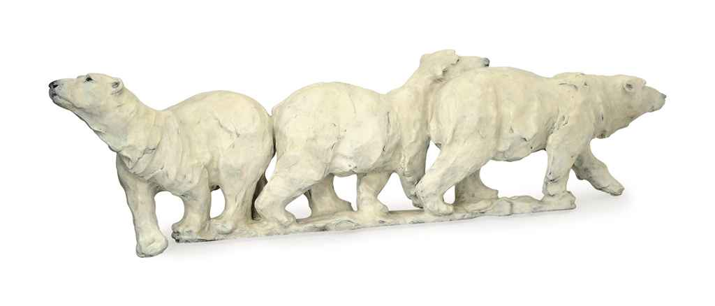 A COLD-PAINTED BRONZE FIGURAL GROUP OF THREE POLAR BEARS,