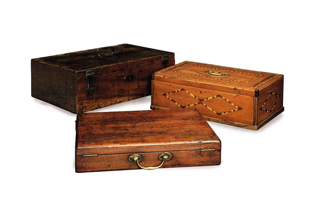 A GROUP OF THREE WALNUT CASKETS,