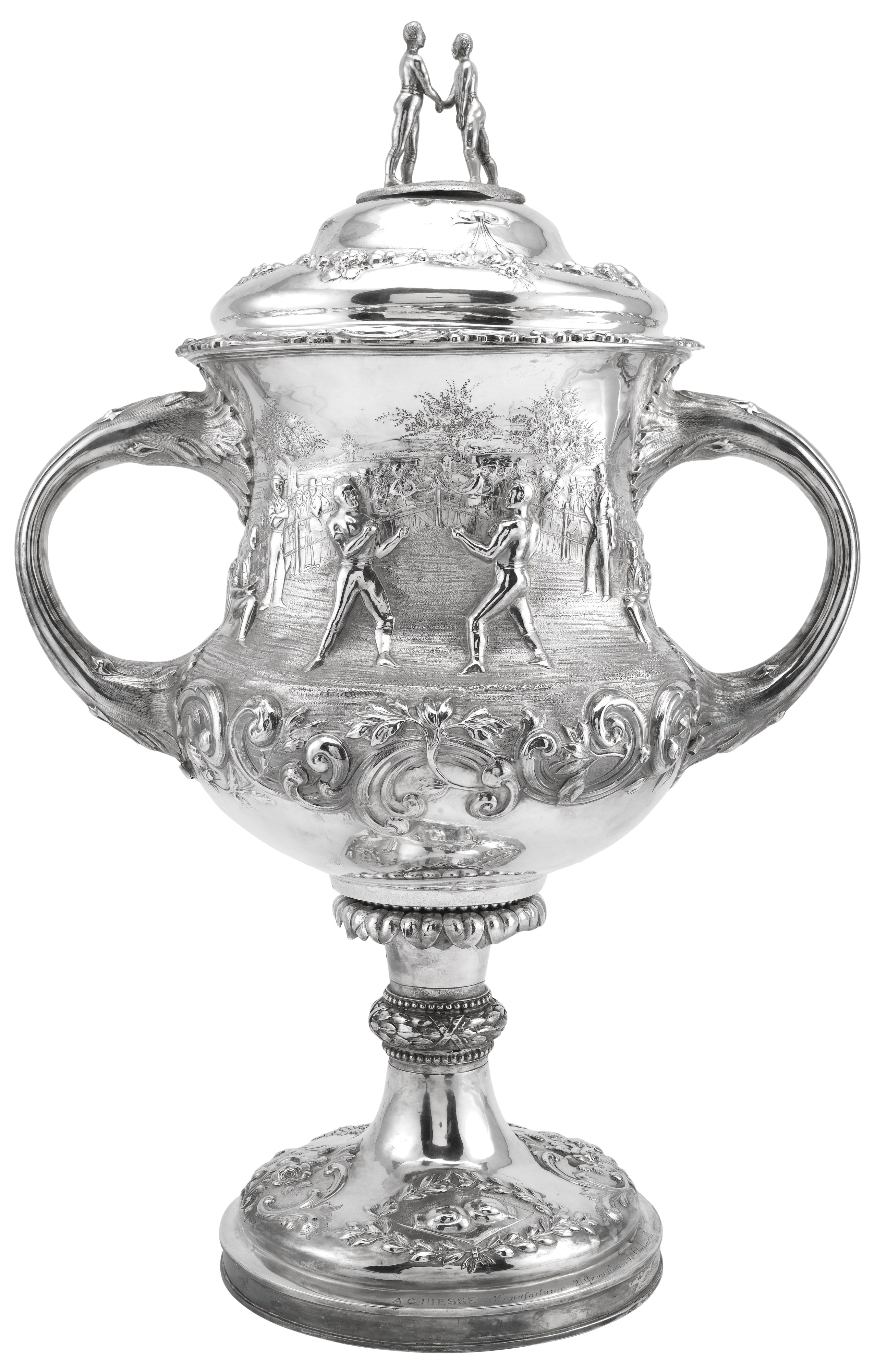A Victorian silver boxing trophy cup and cover, Augustus G. Piesse, London, 1864