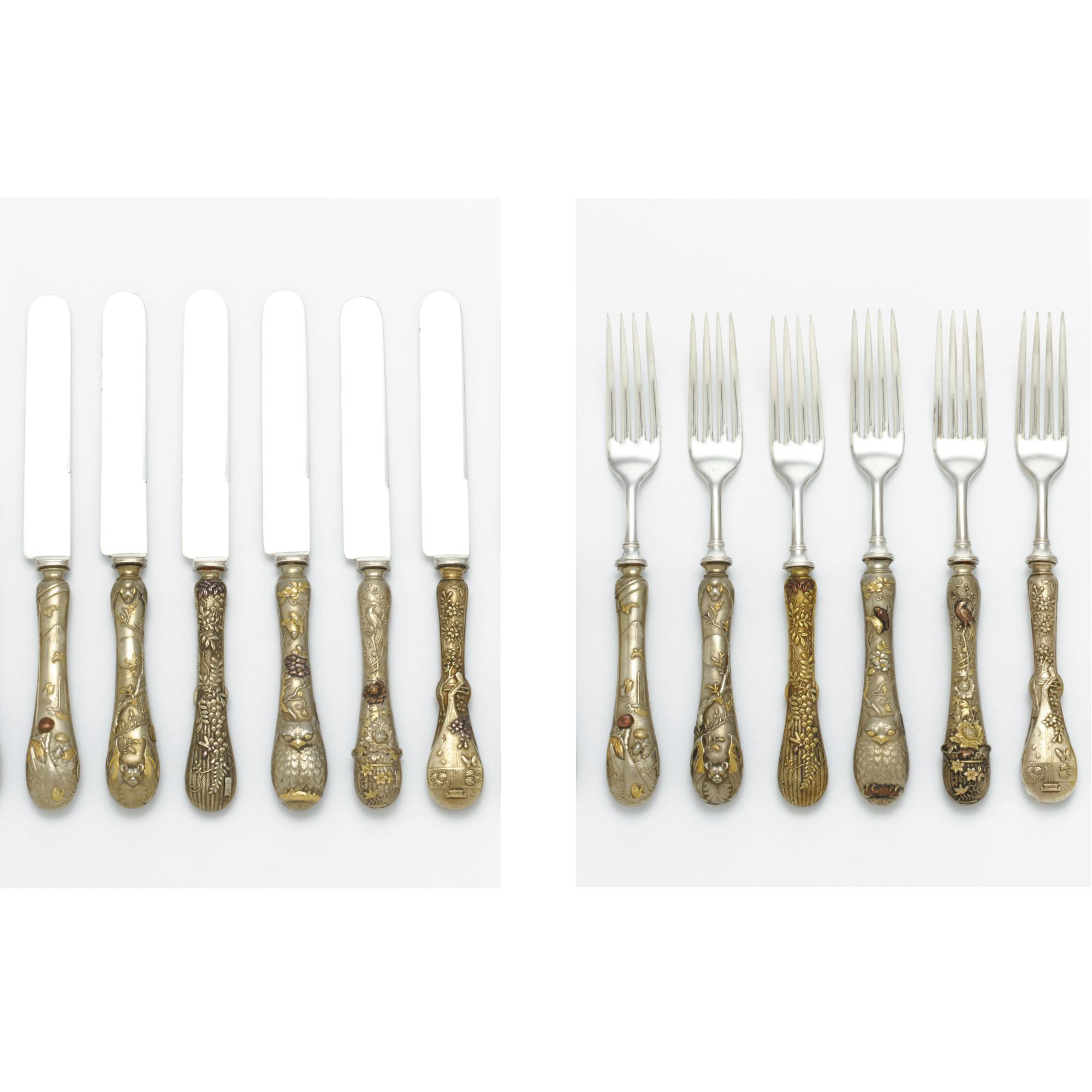 A Set of Twelve Japanese Silver-plated and Mixed Metal Dinner Knives and Twelve Dinner Forks, circa 1880