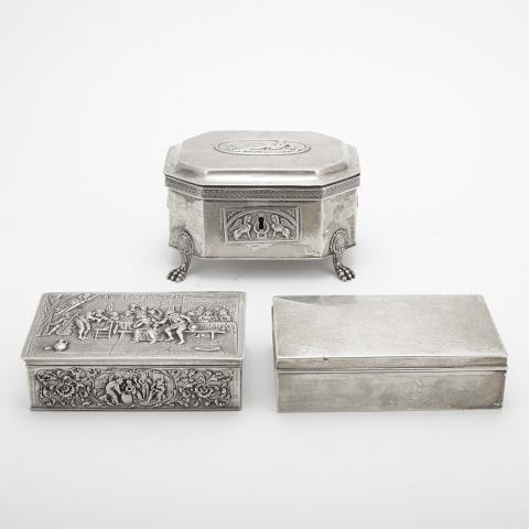 Group of Three Silver Cigar Boxes