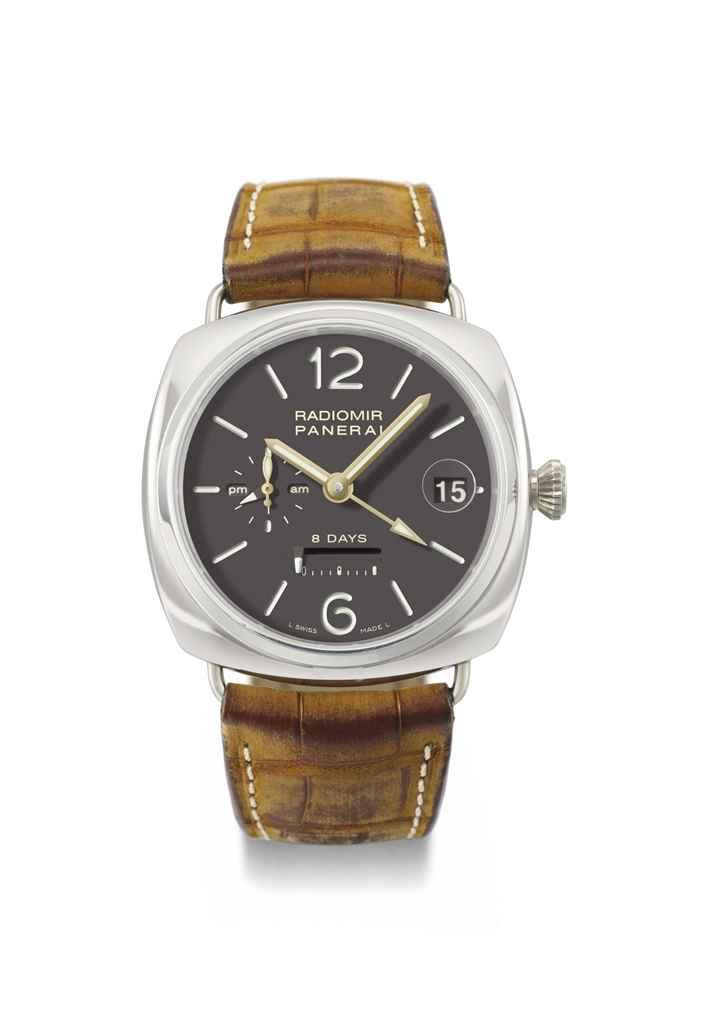 Panerai. A platinum limited edition cushion-shaped dual time zone wristwatch with 8-day power reserve and date