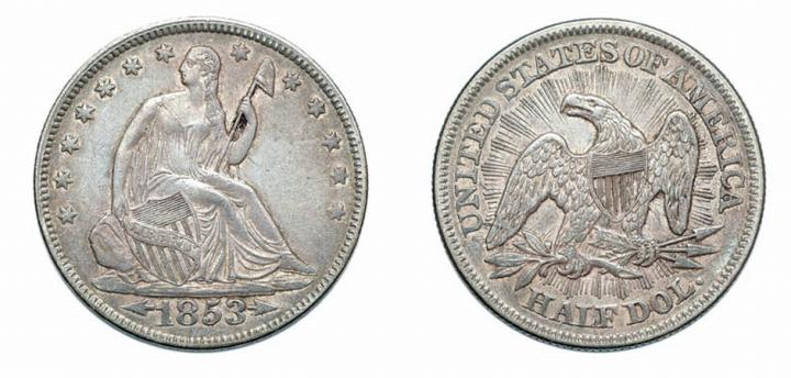 1853, Liberty Seated, Half Dollar, Arrows and Rays