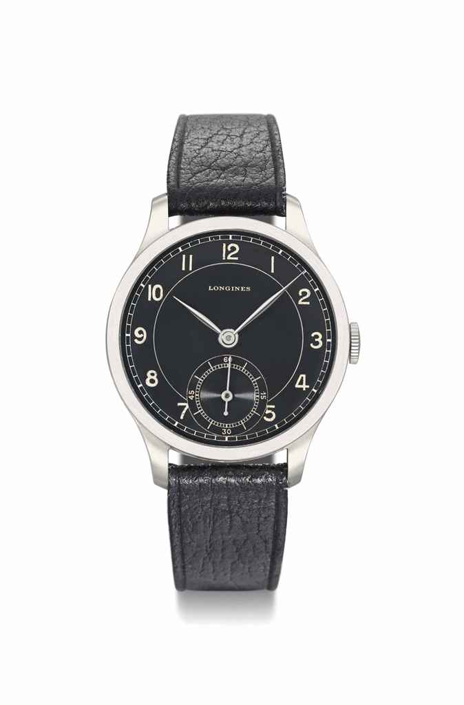 Longines. A fine and rare stainless steel wristwatch with black dial