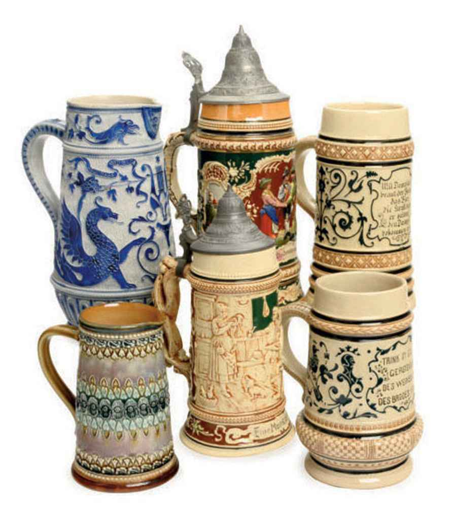 FOUR GERMAN GLAZED EARTHENWARE BEER STEINS, A STONEWARE PITCHER, AND AN ENGLISH BEER PITCHER,