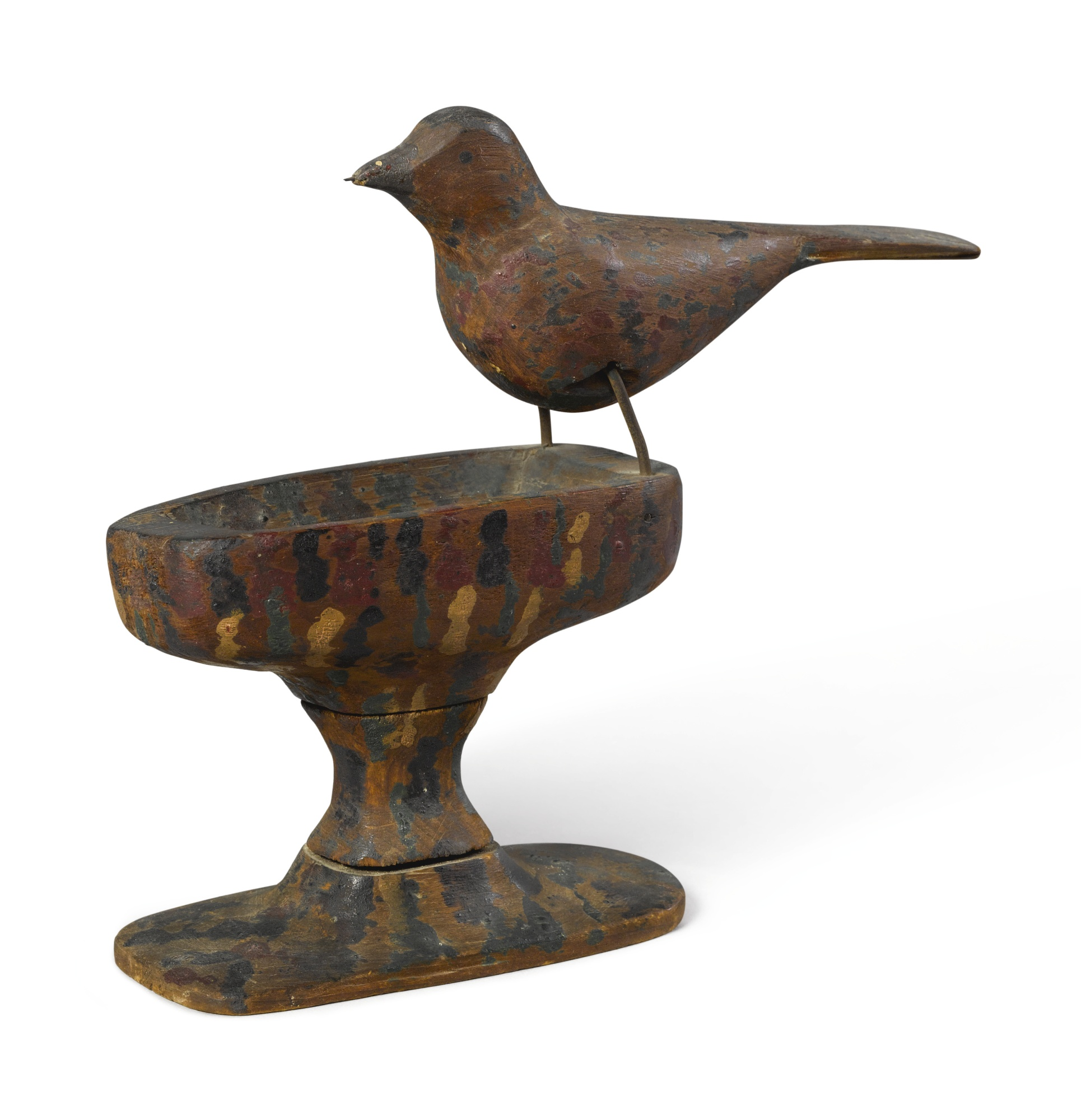 Carved and Painted Wood Bird on Carved Birdbath Base, early 20th century