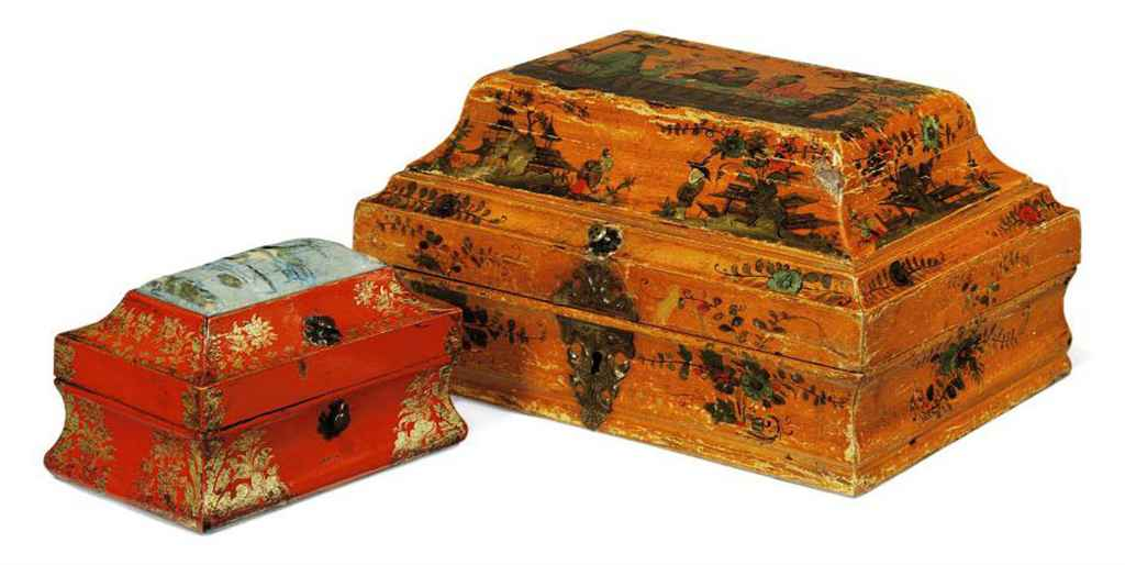 TWO VENETIAN JAPANNED CASKETS