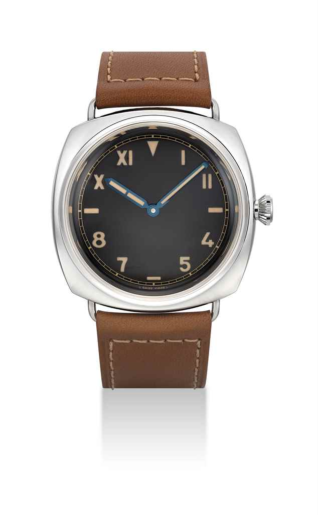 PANERAI. A STAINLESS STEEL SPECIAL EDITION CUSHION-SHAPED WRISTWATCH WITH CALIFORNIA DIAL