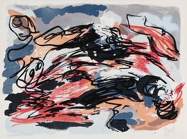 Karel Appel: Composition. Signed Appel, epreuve d'artiste. Lithograph in colours. Sheet size 56 x 76 cm.