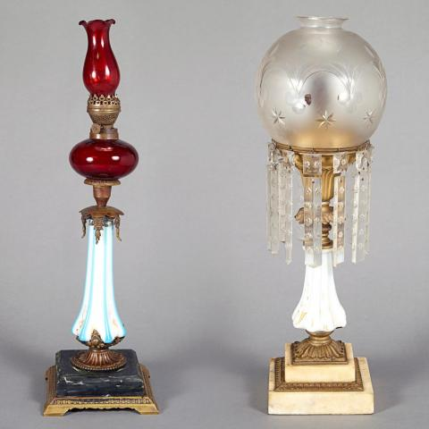 Two Milk Glass Oil Lamps