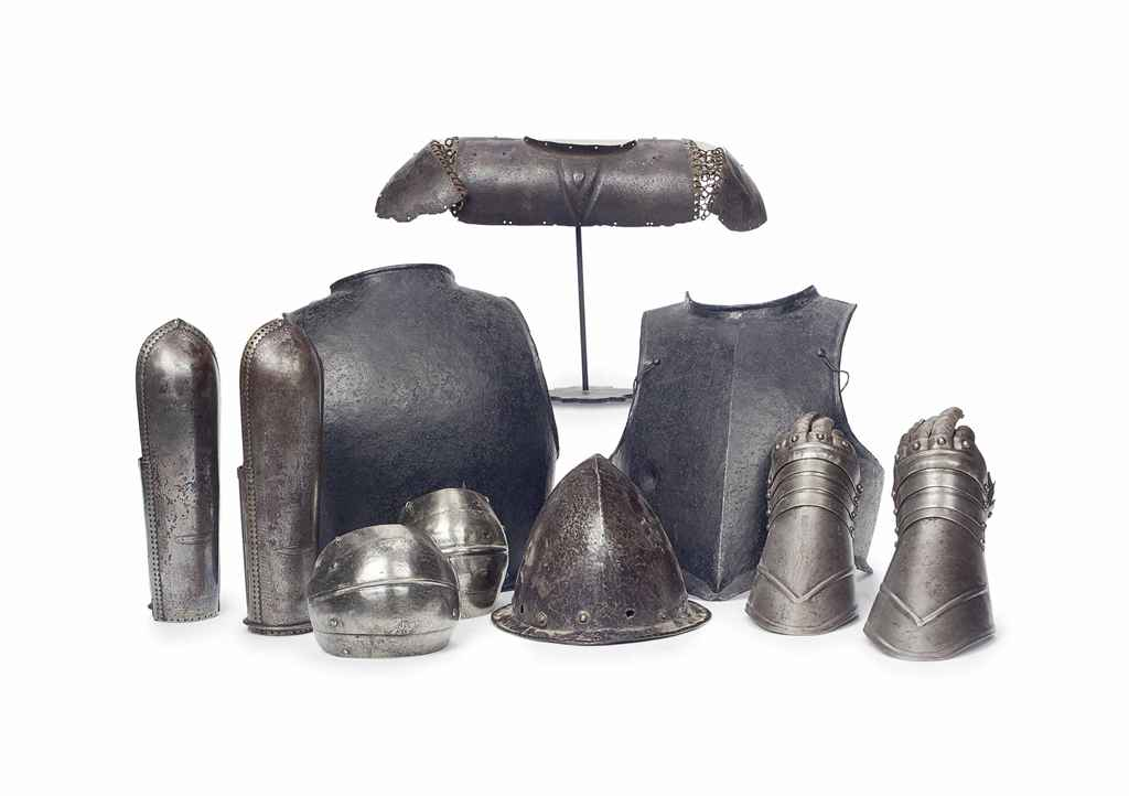 A GROUP OF DECORATIVE ARMOR,