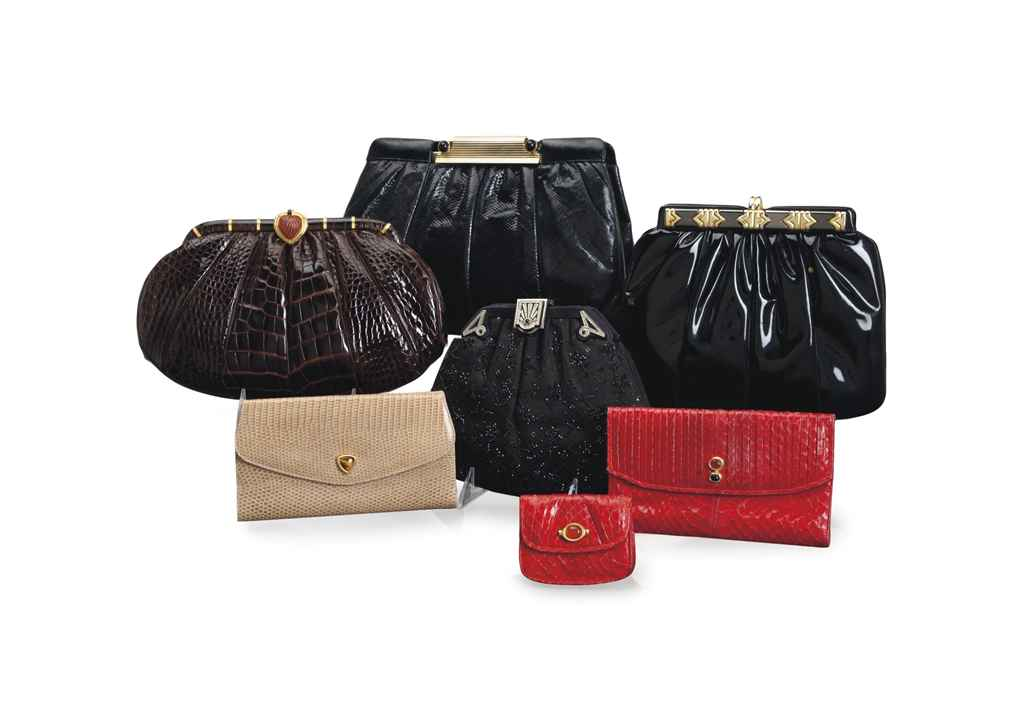 SEVEN ALLIGATOR, SNAKESKIN, LIZARD, PATENT-LEATHER AND DAMASK CLUTCHES AND WALLETS,