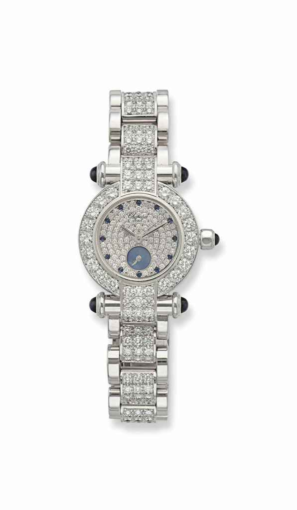 """A DIAMOND, SAPPHIRE AND WHITE GOLD """"IMPERIALE"""" WRISTWATCH, BY CHOPARD"""