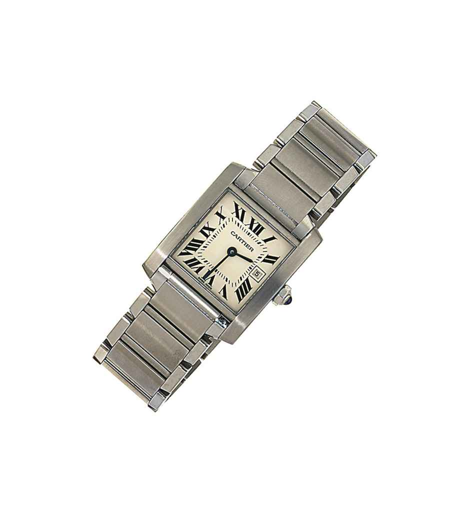 A stainless steel 'Tank Francaise' wristwatch, by Cartier