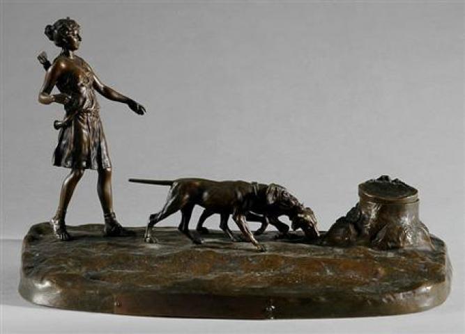 Austrian Bronze Figural Inkwell