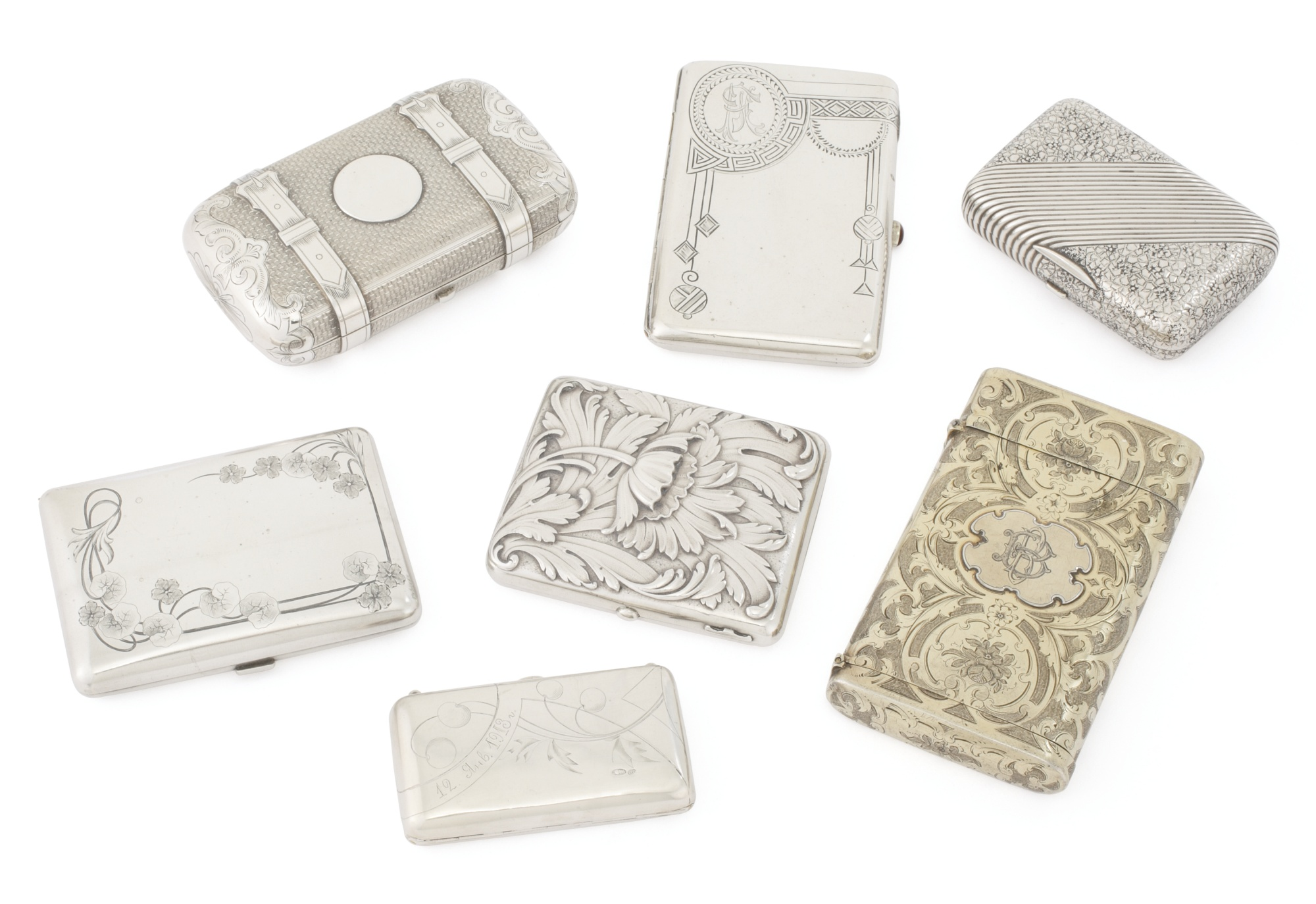 Six Russian silver cigarette cases