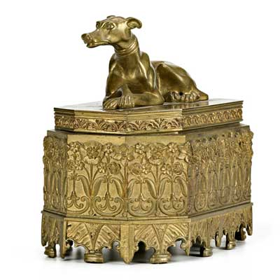 FIGURAL BRONZE INKWELL; Floral...