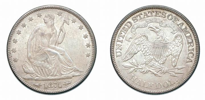 1874, Liberty Seated Half Dollar, Arrows at Date