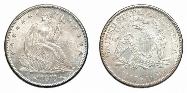 1873 S, Liberty Seated Half Dollar, Arrows at Date