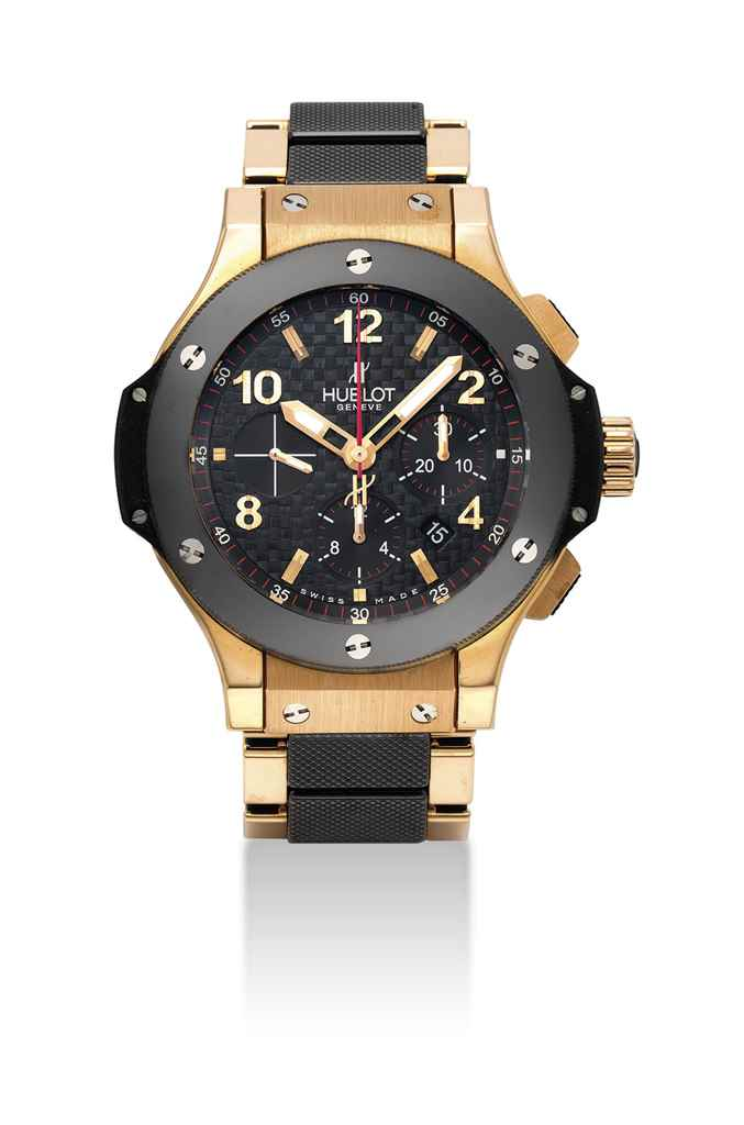 HUBLOT. AN 18K PINK GOLD, TITANIUM AND CERAMIC AUTOMATIC CHRONOGRAPH WRISTWATCH WITH DATE AND BRACELET
