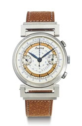BREITLING.  A STAINLESS STEEL CHRONOGRAPH WRISTWATCH WITH TWO TONE DIAL