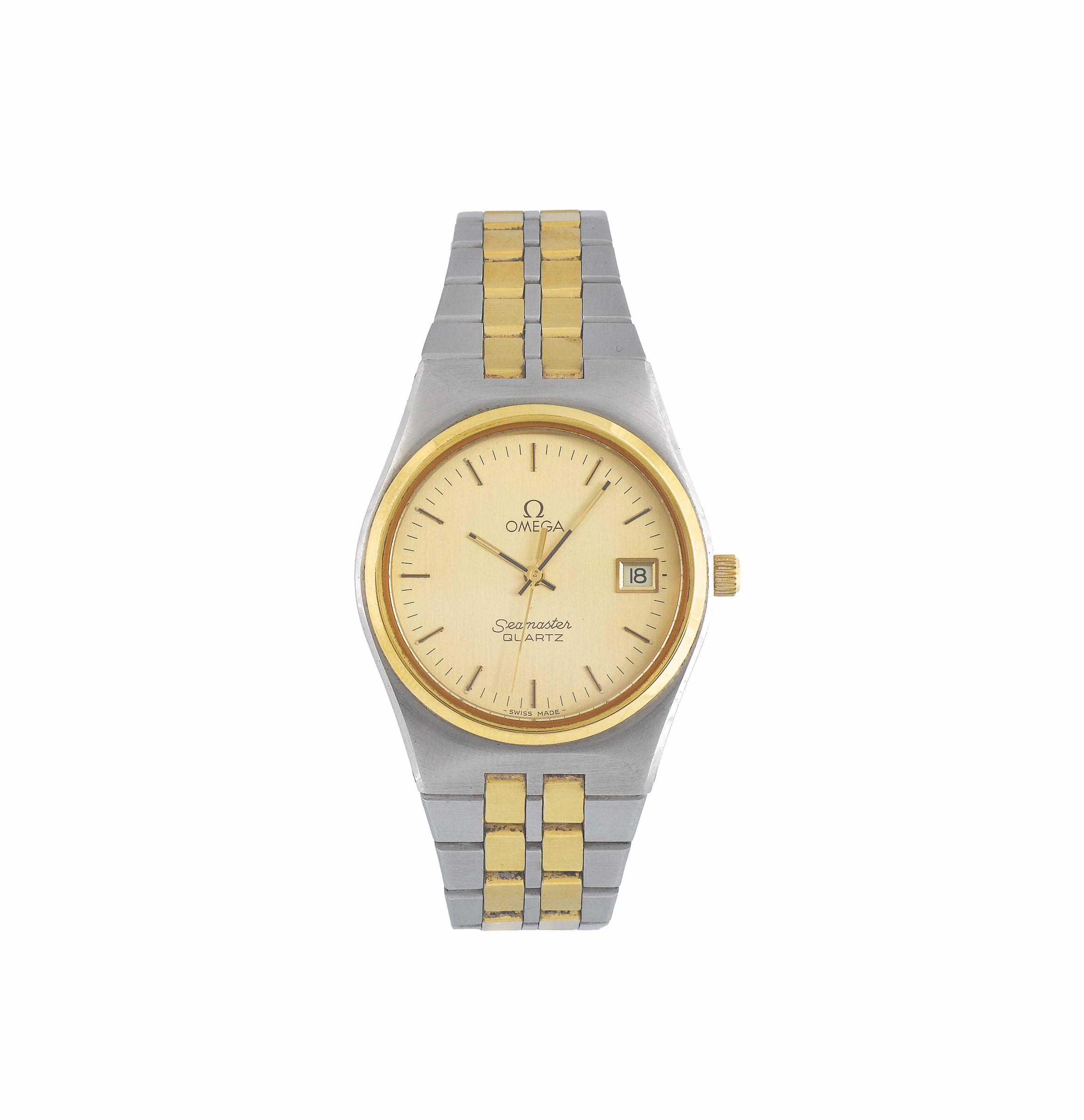 OMEGA, Seamaster Quartz Ref. 1960195, center seconds, water resistant, stainless steel and gold-plated  ...