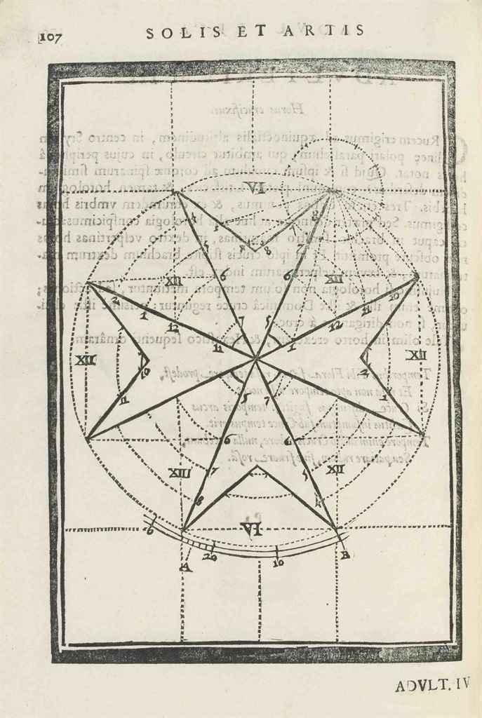 CARAMUEL Y LOBKOWITZ, Juan (1606-82). Solis et artis adulteria. Louvain: Andreas Bouvetius, 1644. 5 parts in one volume, 2° (287 x 187mm). Collation: )(2 A-G4 H2 I4 K2 L-P4 Q2 [-Q2, blank?]. Woodcut title device, engraved arms on title verso, woodcut plate opposite p. 63, woodcut diagrams and tables, many full-page, one double-page  with three attached tabs. (Title with light soiling at margin and small stamp at foot, occasional thumb-soiling elsewhere.) Contemporary calf, covers with rules and arabesque decoration in gilt, gilt edges (extremities worn and somewhat roughly repaired, endpapers renewed). Provenance: Monry B. Marie deBaudeloo 1675 (title inscription).