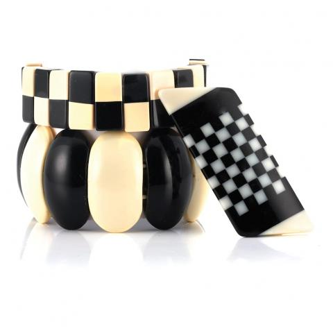Group of Black and White Bakelite and Plastic Jewelry