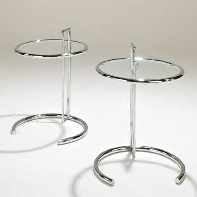 EILEEN GRAY; Pair of E1027 tables,...