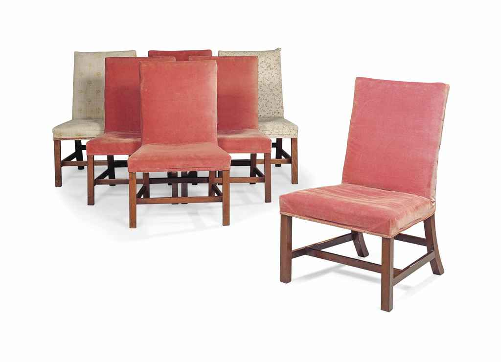A MATCHED SET OF SEVEN GEORGE III MAHOGANY SIDE CHAIRS