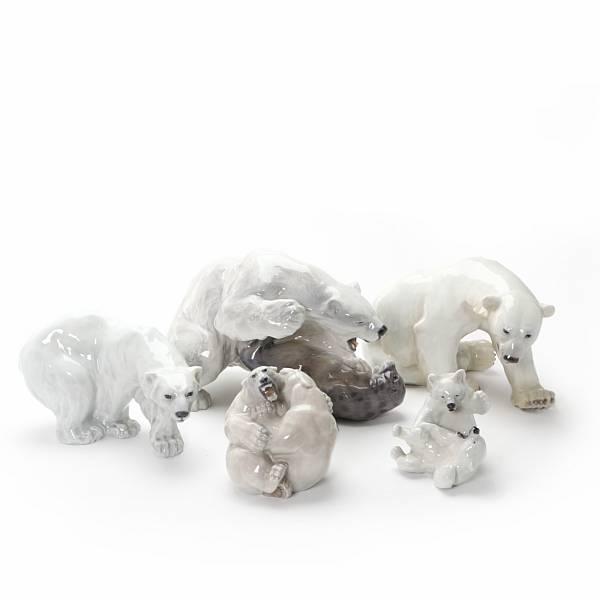 Five porcelain polar bears, Royal Copenhagen and Bing & Gröndahl. (5)