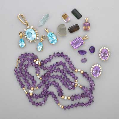COLORED GEMSTONES, GOLD JEWELRY;...