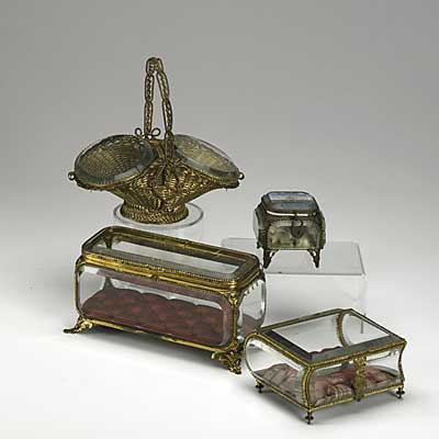 GLASS JEWEL CASKETS; Four in...