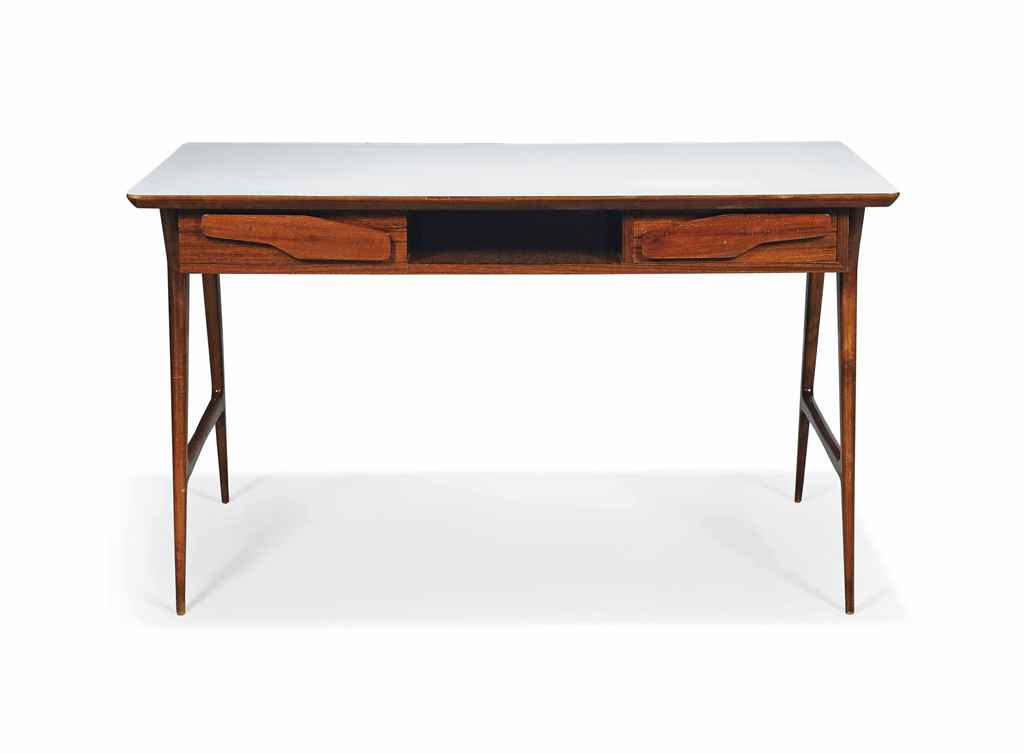 A GIO PONTI STYLE WALNUT & FORMICA TOPED DESK