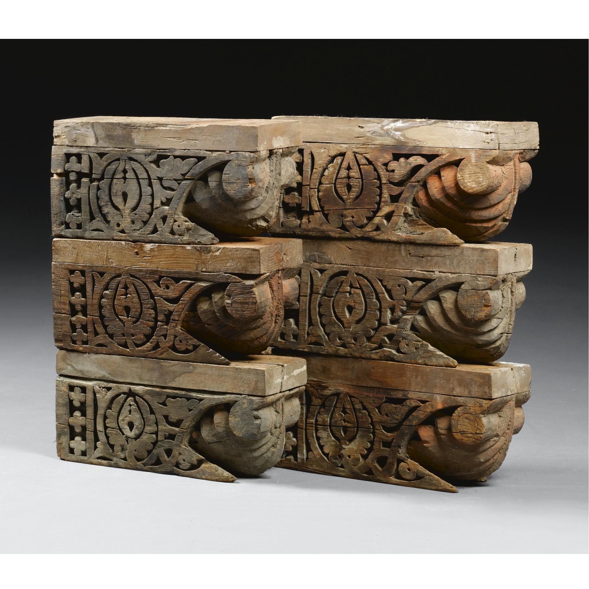 Six Mudejar Carved Wooden Corbels, Toledo, Spain, 13th-14th Century