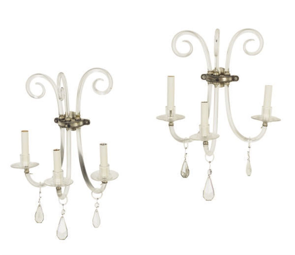 A PAIR OF GLASS THREE-BRANCH WALL LIGHTS,