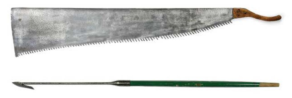 A STEEL WHALING HARPOON AND A WHALE SAW